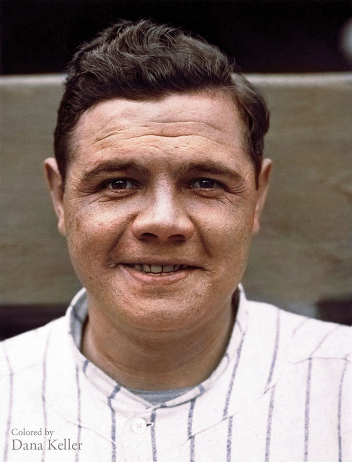 58 Colorized Photos from the Past - Babe Ruth's MLB debut in 1920.