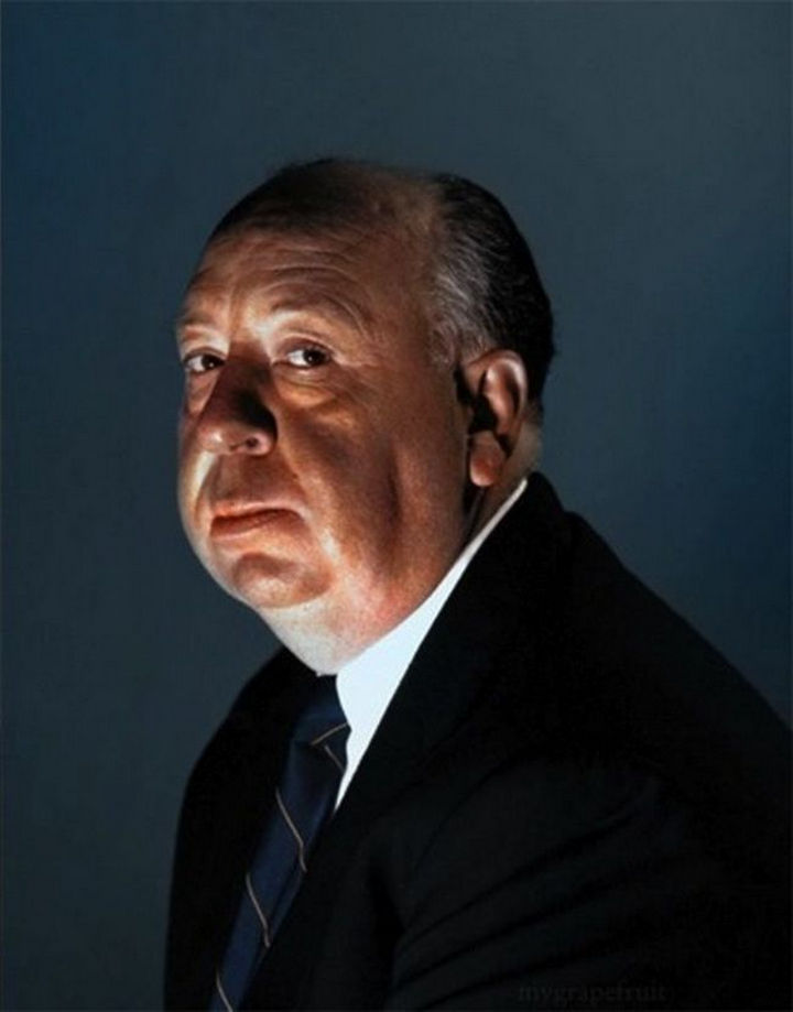 58 Colorized Photos from the Past - Alfred Hitchcock.