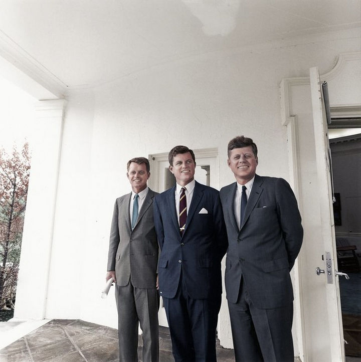 58 Colorized Photos from the Past - Brothers Robert Kennedy, Edward Kennedy, and John F. Kennedy outside the Oval Office.