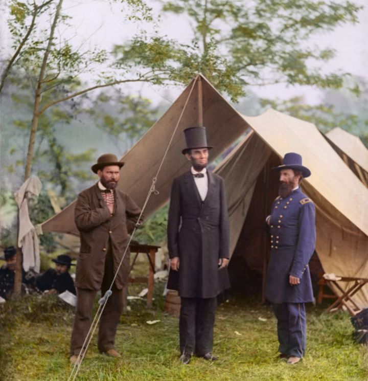 58 Colorized Photos from the Past - Allan Pinkerton, President Lincoln, and Maj. Gen. John A. McClernand at Antietam in 1862.