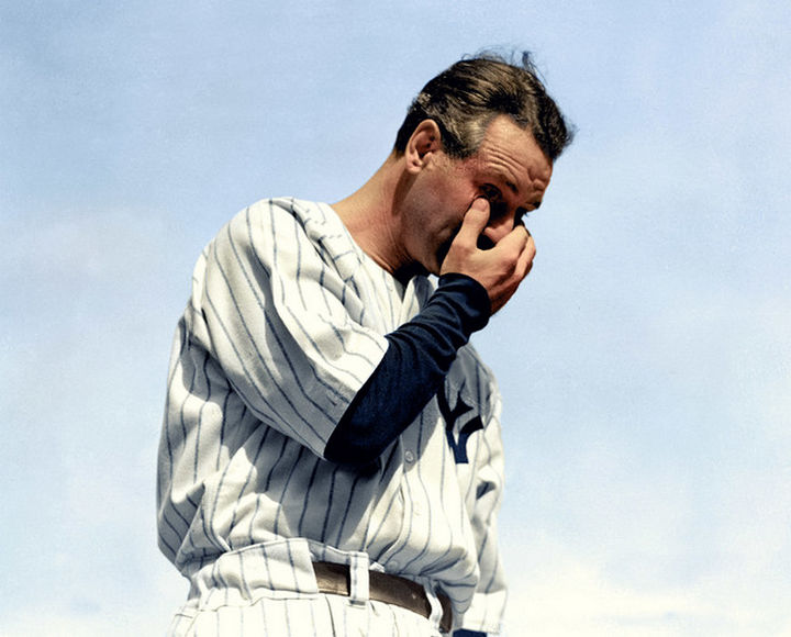58 Colorized Photos from the Past - Lou Gehrig, diagnosed with ALS, is emotional after retirement speech on July 4, 1939.