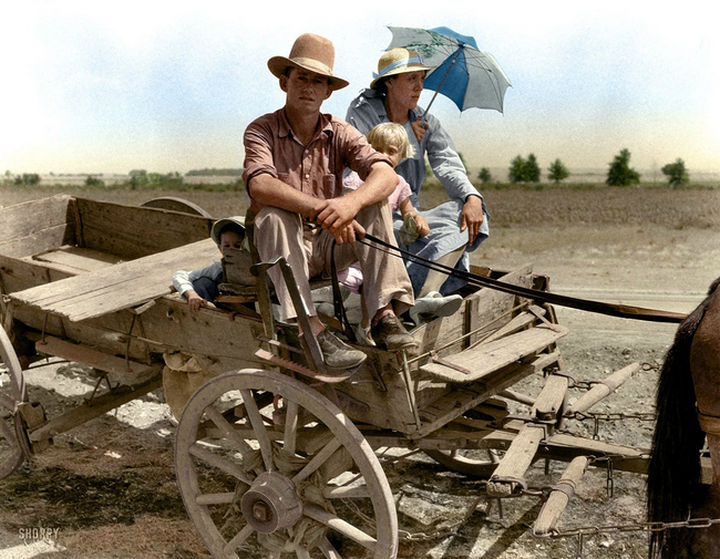 58 Colorized Photos from the Past - Drought-stricken farmer and his family near Muskogee, Oklahoma, 1939.