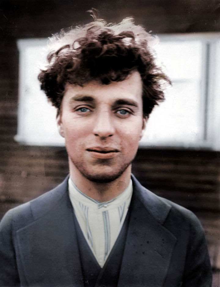 58 Colorized Photos from the Past - Charlie Chaplin at 27 years old, 1916.