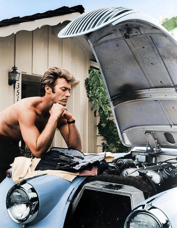 58 Colorized Photos from the Past - Clint Eastwood working on his 1958 Jaguar XK 120 in 1960.