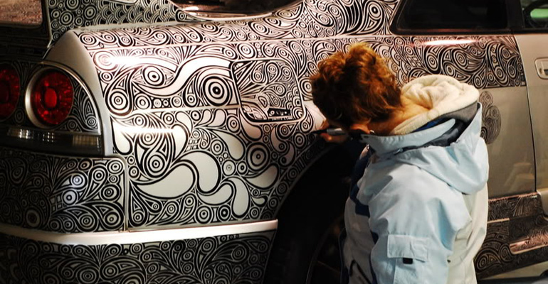 Artist Took a Sharpie to Her Husband's Nissan GTR and It Went from Nice to Incredibly Awesome