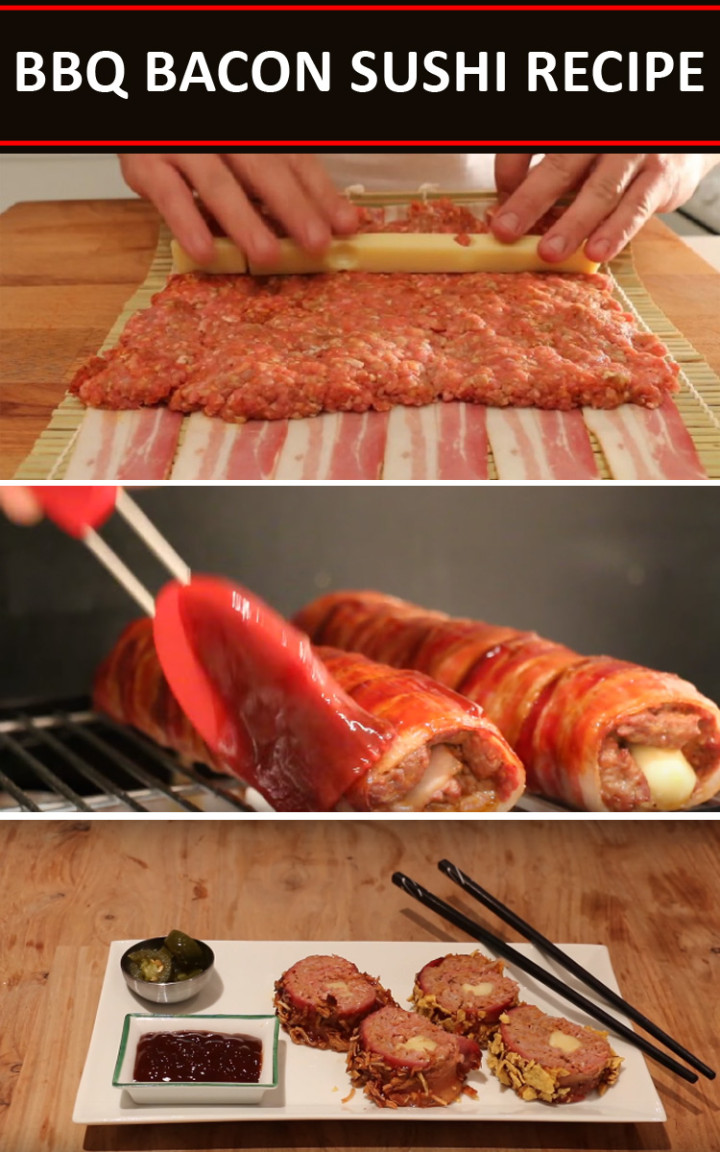 BBQ Bacon Sushi Recipe is the Ultimate Bacon, Beef, and Cheese Delight