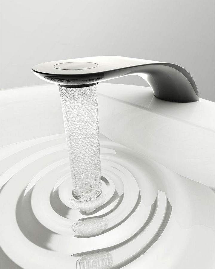 You only need to touch the button on top to open or close the faucet.