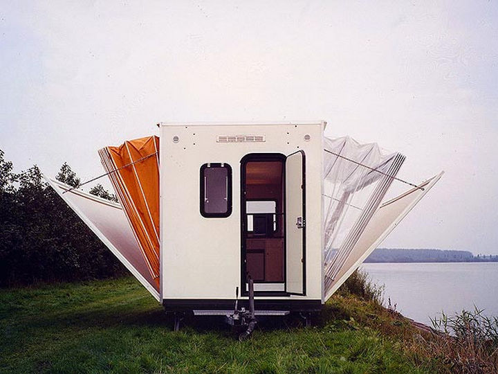 It may look like an ordinary trailer when closed but 'The Marquis' urban camper opens up like an accordion.