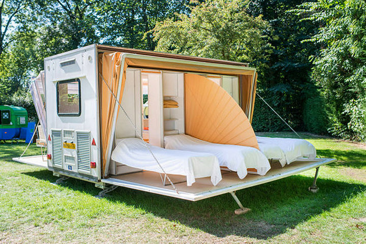 'The Marquis' urban camper features enough room for four people to sleep comfortably and even has a divider.
