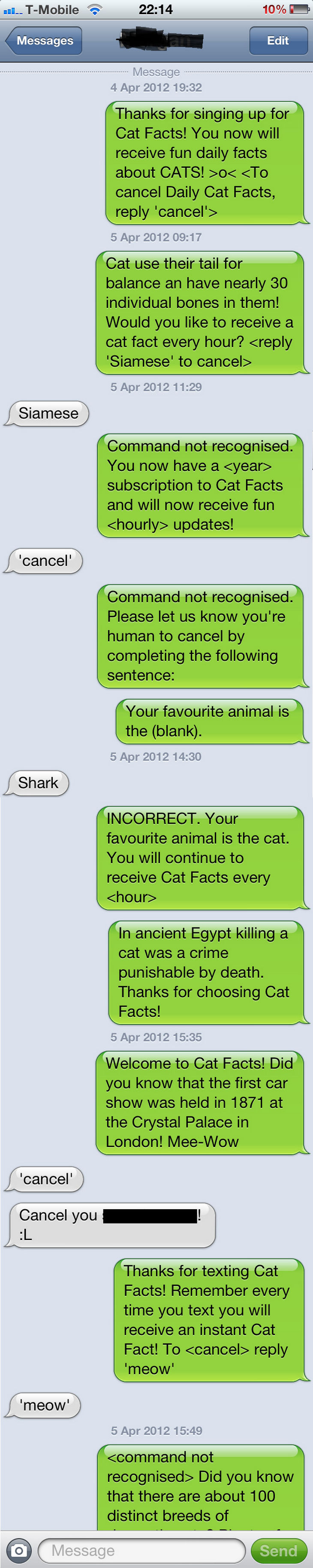 15 People With Ignored Text Messages When People Don't Text Back - He probably wishes he didn't signup for cat facts.