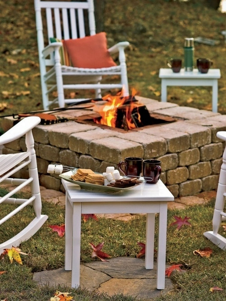34 DIY Backyard Ideas for the Summer - Build a stone fire pit.
