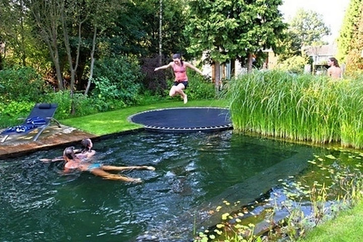 34 DIY Backyard Ideas for the Summer - Make diving more fun by installing a trampoline instead of a diving board.