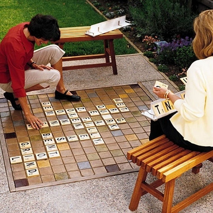 34 DIY Backyard Ideas for the Summer - Create a giant Scrabble set for outdoor fun.