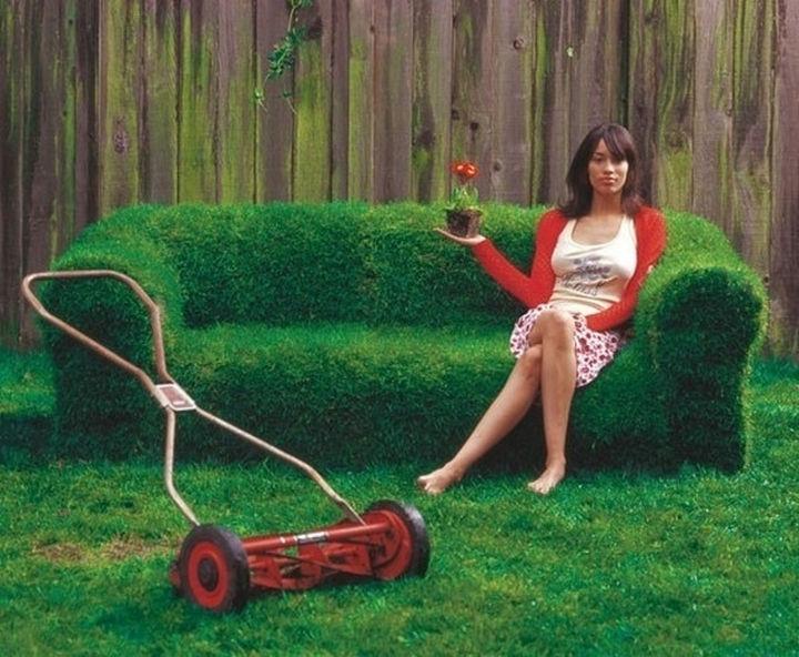34 DIY Backyard Ideas for the Summer - Create a lawn chair...a REAL lawn chair or sofa.
