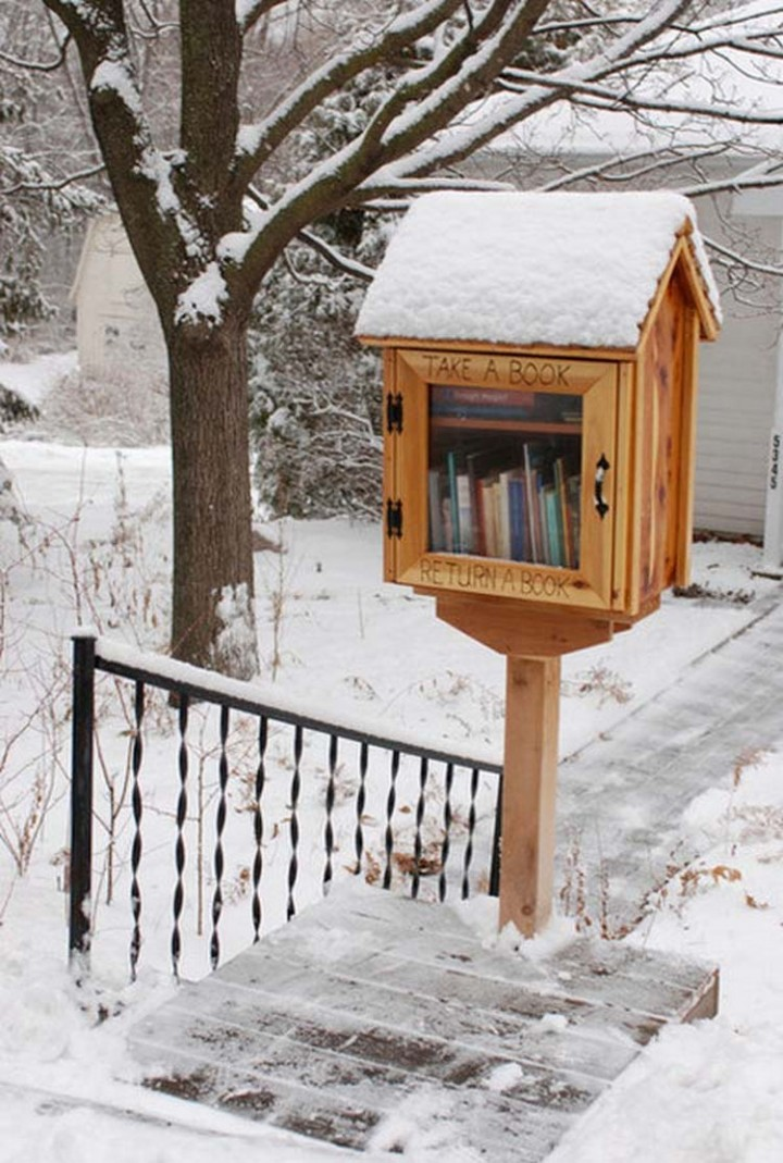 Build an outdoor library for people in your neighborhood - 37 Home Improvement Ideas