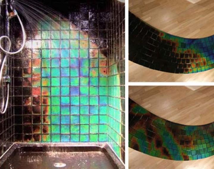 Install heat-sensitive tiles in the shower - 37 Home Improvement Ideas