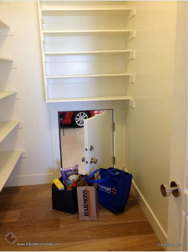 Make unloading groceries easier by building a trap door to the garage - 37 Home Improvement Ideas