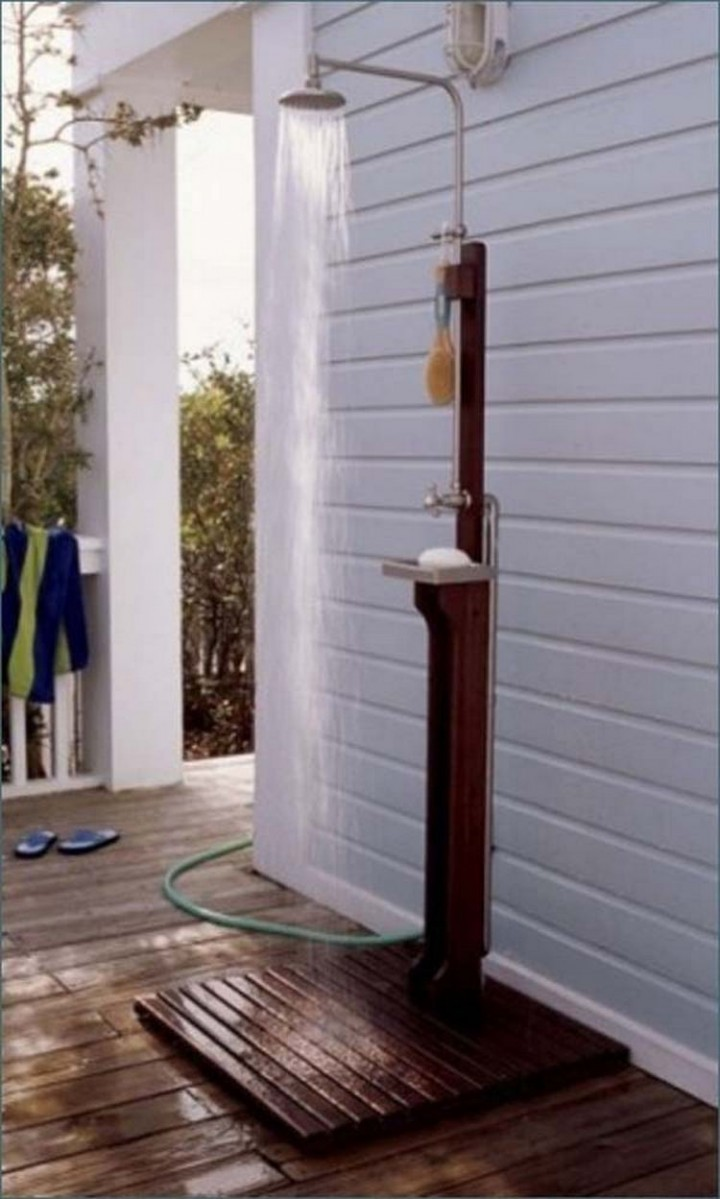 Build a custom outdoor shower for hot summer days or to rinse off after swimming - 37 Home Improvement Ideas