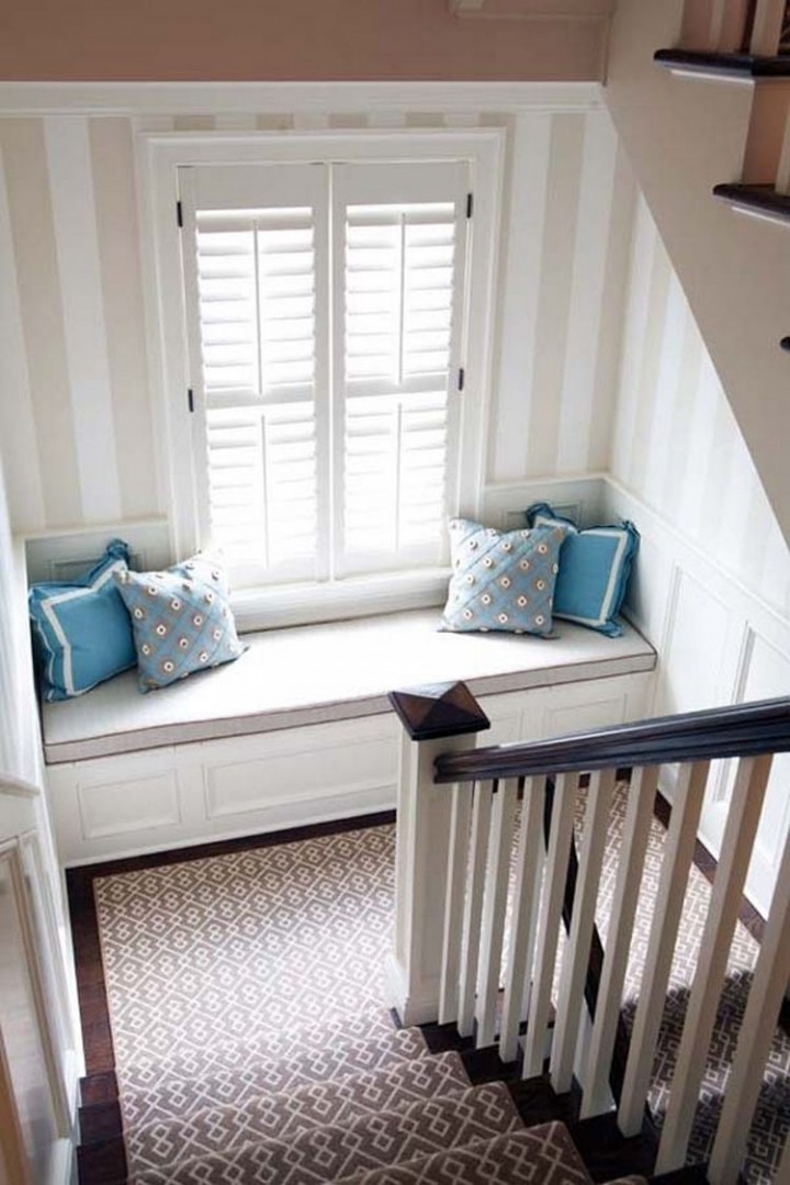 Add a window seat to the landing of your staircase for a great look - 37 Home Improvement Ideas