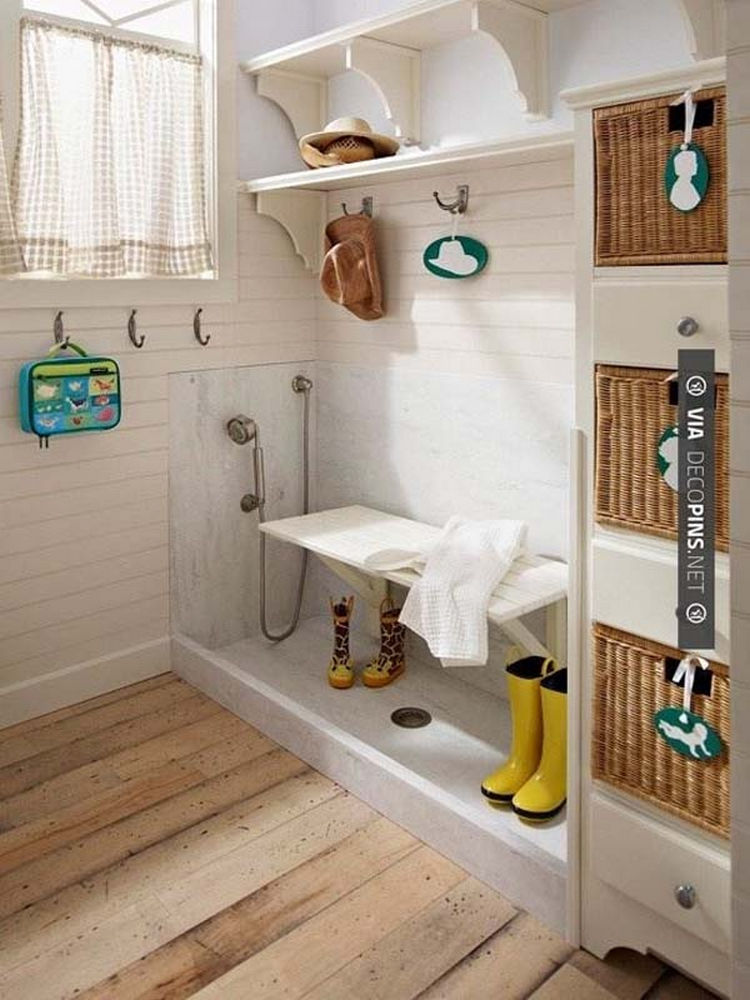Install a simple dog bath in your entry way to easily clean mud off boots - 37 Home Improvement Ideas