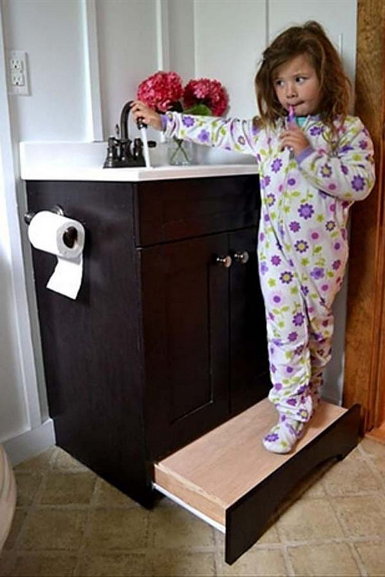 Build a permanent step stool that slides away when not in use - 37 Home Improvement Ideas