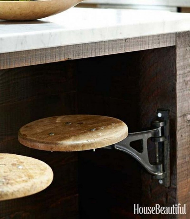 Install vintage swing-out stools for your breakfast nook or kitchen island - 37 Home Improvement Ideas
