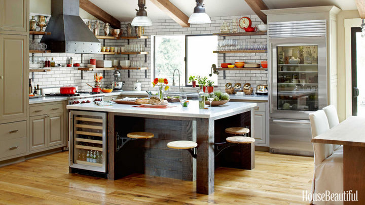 Vintage swing-out stools for your industrial kitchen design - 37 Home Improvement Ideas