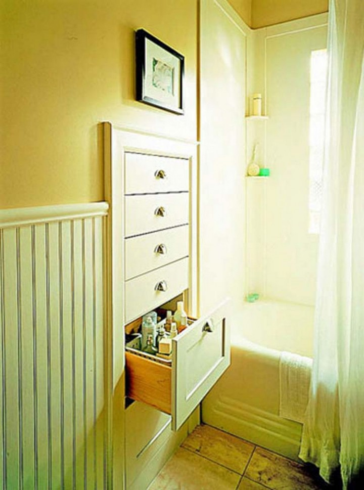 Maximize floor space and build wall drawers between the studs inside the wall - 37 Home Improvement Ideas
