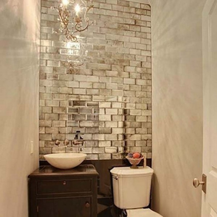 To make small rooms look bigger, install mirrored tiles on one wall - 37 Home Improvement Ideas