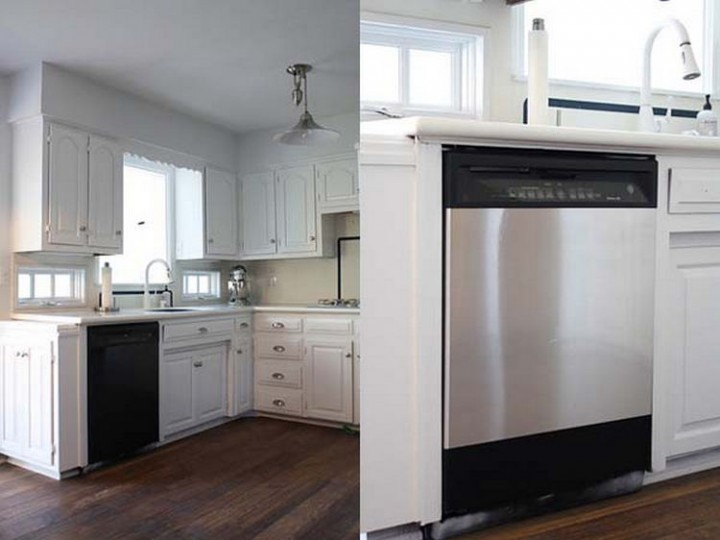 Give your appliances a stainless steel makeover by simply using inexpensive stainless steel contact paper - 37 Home Improvement Ideas