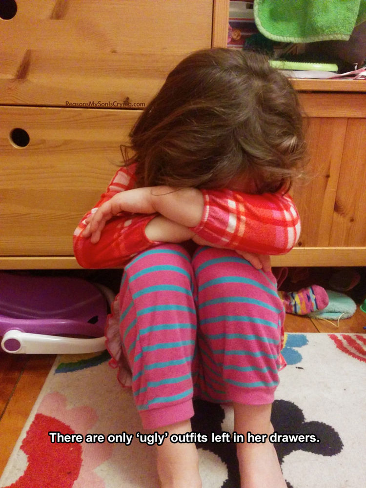 37 Photos of Kids Losing It - There are only 'ugly' outfits left in her drawers.