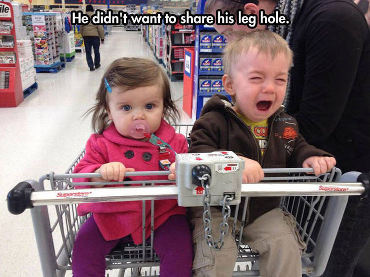 37 Photos of Kids Losing It - He didn't want to share his leg hole.
