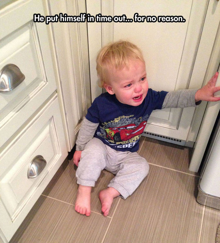 37 Photos of Kids Losing It - He put himself in time out...for no reason.