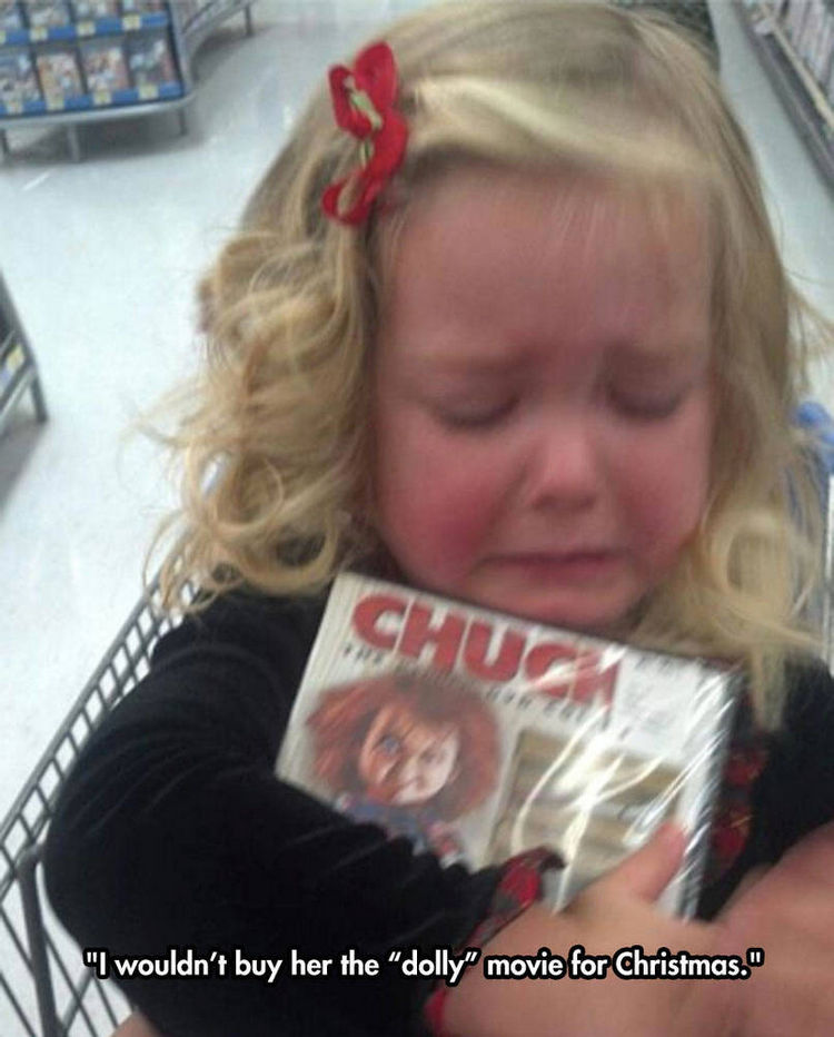 37 Photos of Kids Losing It - I wouldn't buy her the 'dolly' movie for Christmas.