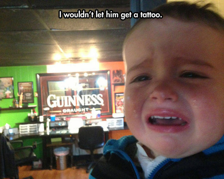 37 Photos of Kids Losing It - I wouldn't let him get a tattoo.