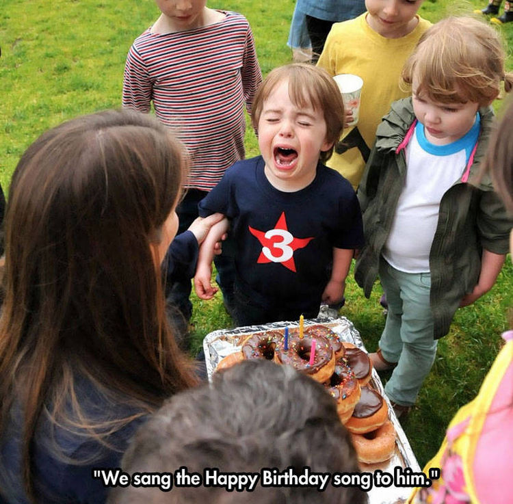 37 Photos of Kids Losing It - We sang the Happy Birthday song to him.