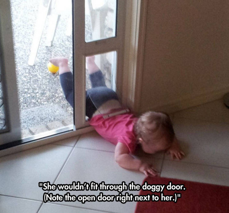 37 Photos of Kids Losing It - She wouldn't fit through the doggy door. (Note the open door right next to her.)