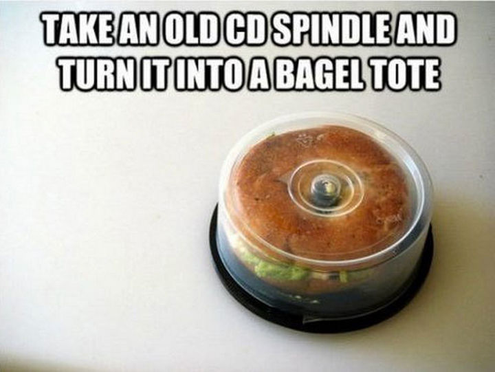 51 Crazy Life Hacks - Take an old CD spindle and turn it into a bagel tote.