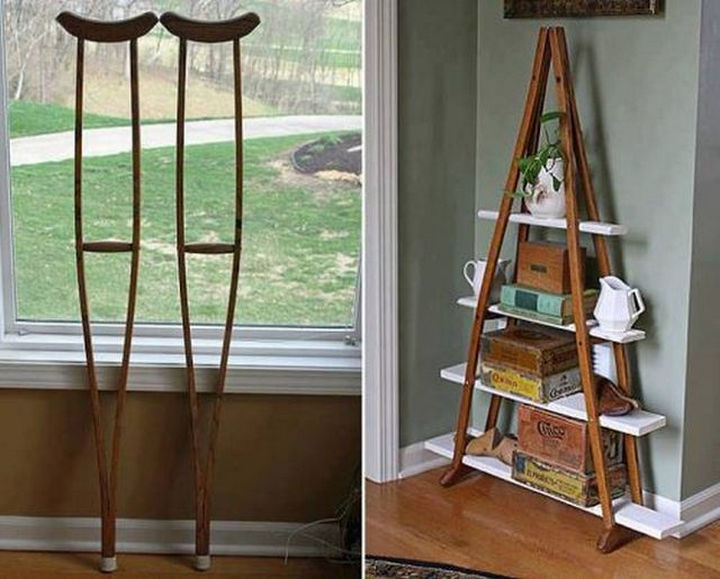 51 Crazy Life Hacks - Create a unique shelf with used crutches.