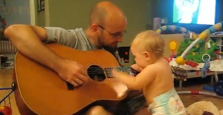 Daddy Starts Playing a Bon Jovi Song and Baby Begins Dancing.