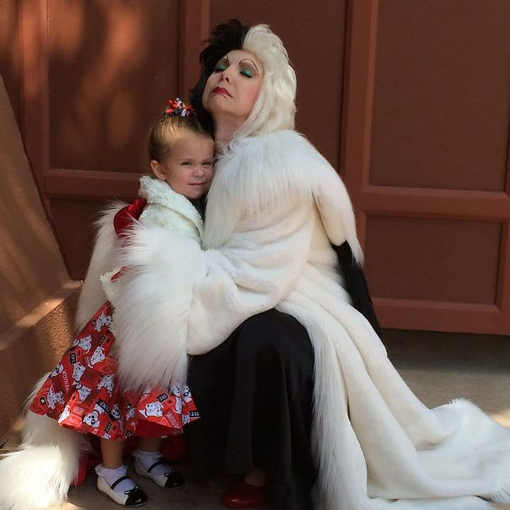 Homemade Cruella de Vil costume from 101 Dalmatians.
