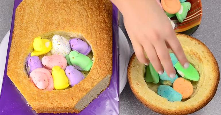 She Put Peeps Inside a Cake and Made a Giant Peeps Cake.