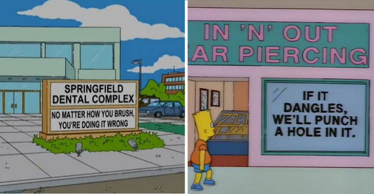 31 Hilarious Signs from The Simpsons You May Have Missed.