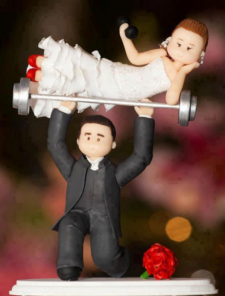 18 Funny Wedding Cake Toppers - A couple that trains together, stays together.