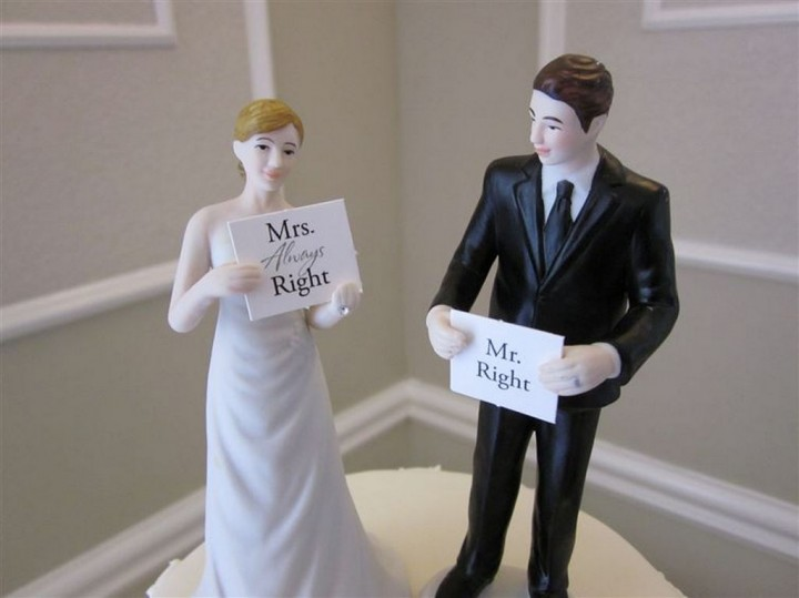18 Funny Wedding Cake Toppers - Keep calm, women are always right.