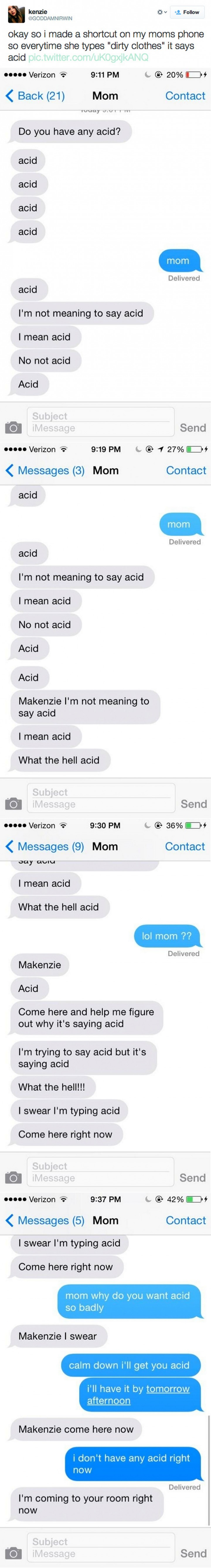 19 Funny Texts From Parents - Dirty clothes...
