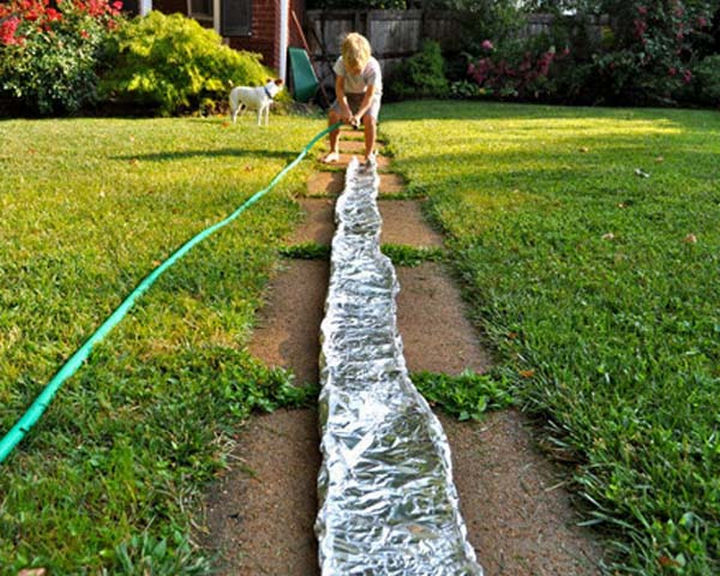 11) Make A River In The Backyard With Foil.