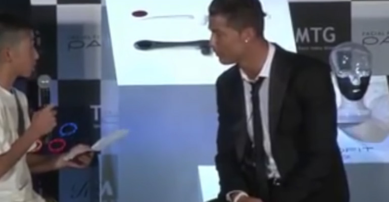 Cristiano Ronaldo Tells Crowd to Stop Laughing at a Fan in Japan.
