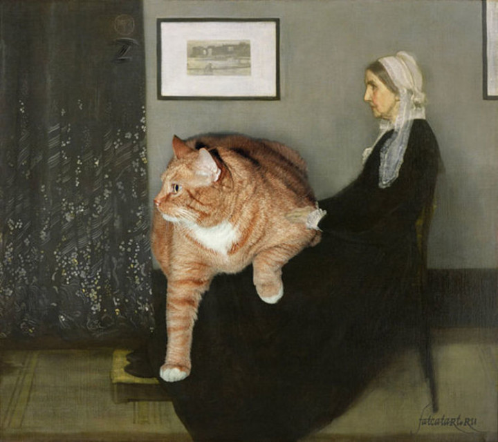 Fat Cat Photobombs Famous Paintings - Whistler's Mother, James McNeill Whistler (1871).