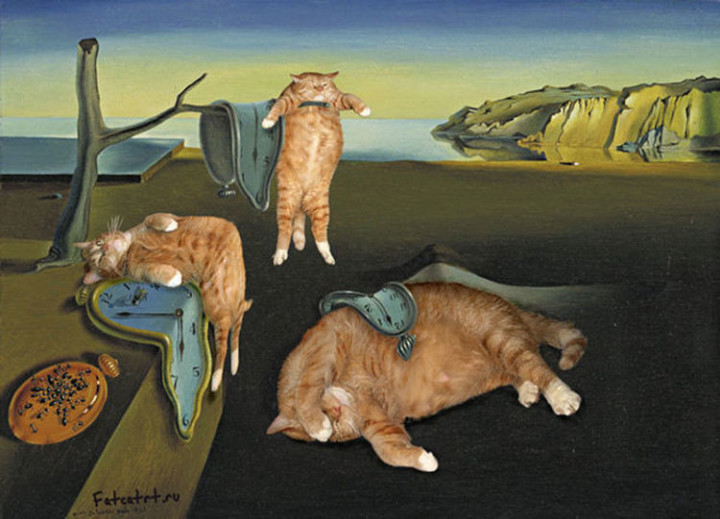 Fat Cat Photobombs Famous Paintings - The Persistence of Memory, Salvador Dalí (1931).
